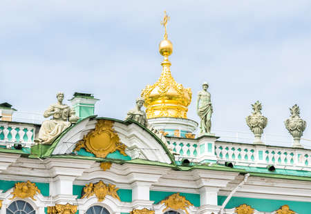 hermitage: Golden dome on the roof of the State Hermitage Museum - Winter Place, Saint Petersburg, Russia.