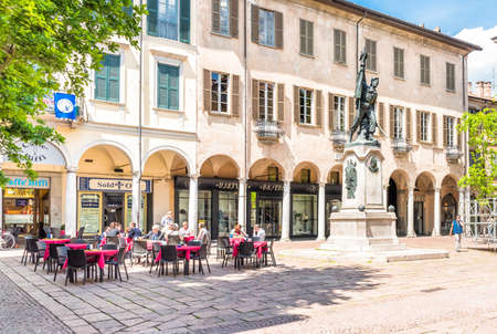 praetorian: VARESE, ITALY - MAY 6, 2016: Podesta Square, old civic center of the town, on Which stands the bronze monument to Giuseppe Garibaldi and the Battle of Varese in 1859.