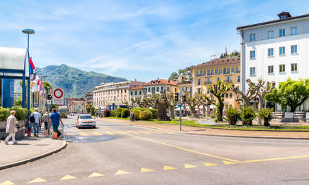 warmest: LOCARNO, SWITZERLAND - MAY 4, 2016: The town with the warmest climate in Switzerland. It is located on the northern shore of Lake Maggiore.