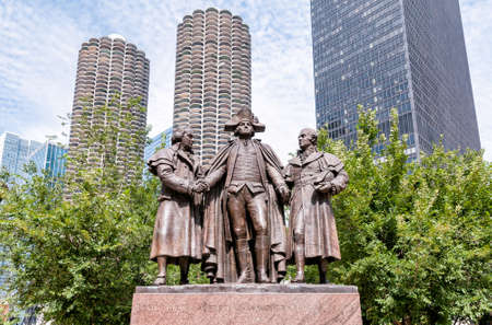 george washington: Monumento a George Washington, Robert Morris, Haym Salomon Memorial, Plaza Heald, Chicago Editorial