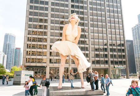 Chicago, IL, United States - April 13, 2012: Forever Marilyn Monroe Sculpture along Michigan avenue, visited by large numbers of tourists.