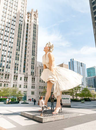 michigan avenue: Chicago, IL, United States - April 13, 2012: Forever Marilyn Monroe Sculpture along Michigan avenue, visited by large numbers of tourists.