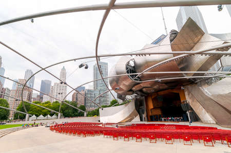 internships: Chicago, IL, United States - August 15, 2014: Jay Pritzker Pavilion, it is one of the outdoor Amphitheaters located centrally in Millennium Park at Chicago downtown.