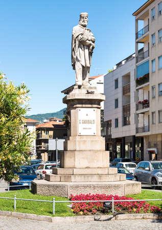 Monument to the Italian hero Giuseppe Garibaldi, located in Verbania, Italy Editorial