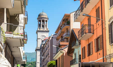 church bell: View with church bell tower in Verbania, Piedmont, Italy