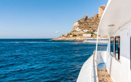 Levanzo island in the Mediterranean sea, view from the boat.