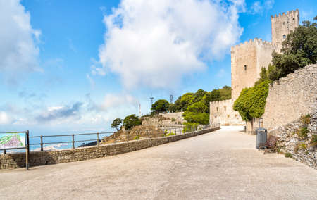 Castle of Venus prom in Erice, province of Trapani in Sicily, Italy. Editorial