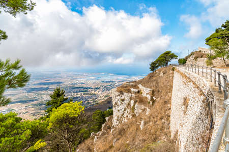 erice: Panoramic view from Erice tuwards Trapani and Egadi Islands, Sicily, Italy