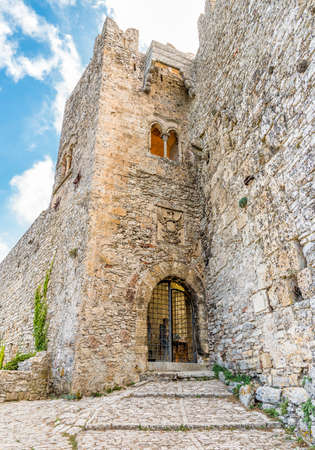 Medieval Castle of Venus or Norman castle facade in Erice, province of Trapani in Sicily, Italy.