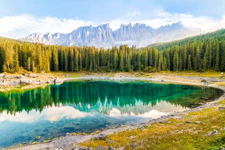 Landscape of Lake Carezza and Dolomites, Nova Levante, Bolzano, Italy