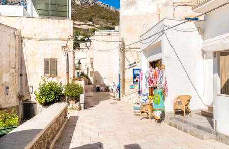 Typical street of small village on Levanzo island, the smallest of the Egadi, Trapani, Italy