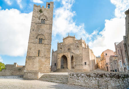 erice: Main Cathedral of Erice, Santa Maria Assunta Mother Church or main church, the provinces of Trapani. Sicily, Italy. Stock Photo