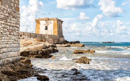 Sea view with Ligny Tower, Trapani, Sicily. Italy.