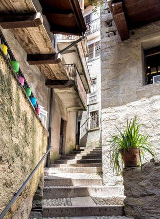 bella: Old narrow street in the historic center of Bella Island of Lake Maggiore