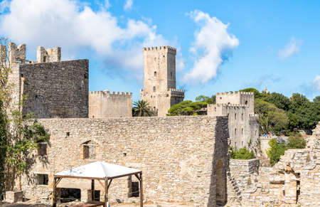 erice: Tower of the Venus Castle, the Norman Castleof Erice, Sicily, Italy