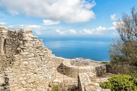 erice: View from Castle of Venus Erice, Sicily, Italy Stock Photo