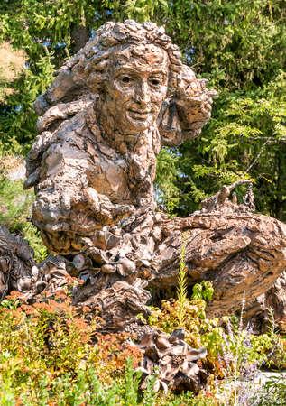 Bronze sculpture of Carolus Linnaeus in the Chicago Botanic Garden, Illinois, USA