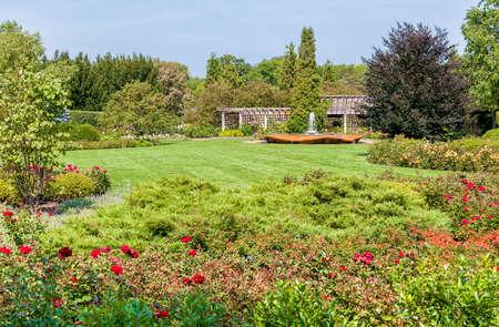 Chicago Botanic Garden, the rose garden area with Rose Petal Fountain, Illinois, USA