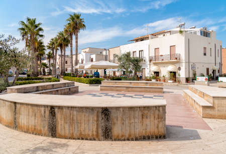 San Vito Lo Capo, Trapani, Italy - September 29, 2016: Marinella square of San Vito Lo Capo, is a small town with small white houses and narrow streets, most famous touristic destinations of Sicily. Editorial