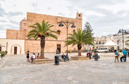 San Vito Lo Capo, Trapani, Italy - September 30, 2016: The Sanctuary square with the Fortified Sanctuary, is the most interesting monument of San Vito Lo Capo.