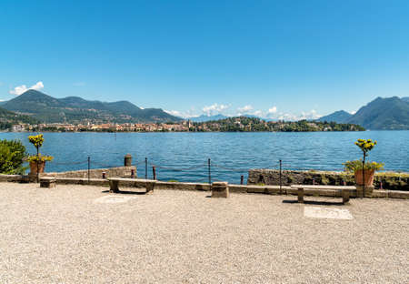 View of Lake Maggiore from island Mother, is one of the Borromean Islands of Piedmont in north Italy