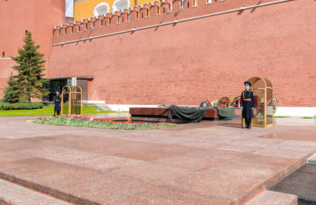 Moscow, Russian Federation - May 13, 2017: Guard of honor near Eternal Flame War memorial in Alexanders Garden in Moscow.