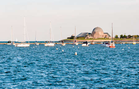 Landscape of Lake Michigan with Adler Planetarium in the background.