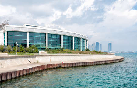 Chicago Shedd Aquarium with Lake Michigan and skyline Фото со стока - 80248258