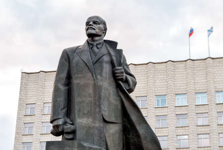 Monument to Vladimir Ilyich Lenin on the Lenin Square of Arkhangelsk, Russia Editorial