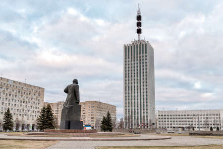 Building of Project Organizations with Monument to Vladimir Ilyich Lenin in Arkhangelsk, Russia Editorial