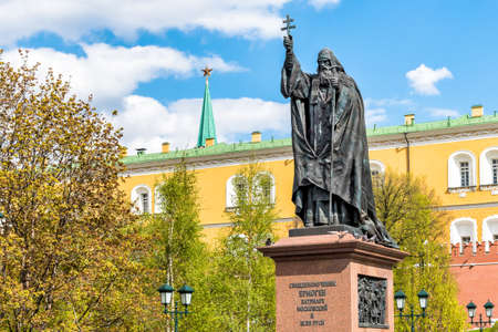 Monument to Patriarch Hermogenes in Alexander Garden in Moscow.