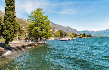 Locarno Lakeside, located on Lake Maggiore, Ticino, Switzerland 版權商用圖片 - 82036889
