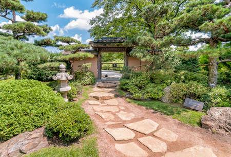 Japanese Garden At Chicago Botanic Garden, Illinois, USA Stock Photo