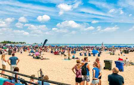 Chicago, Illinois, USA - August 16, 2014: People resting on the most popular North Avenue Beach in Chicago. Editorial