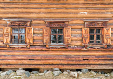Windows in the old wooden house.
