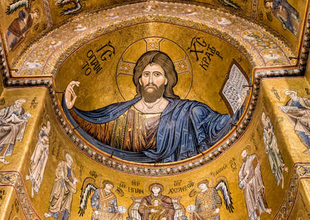 Christ Pantocrator mosaic inside Cathedral of Monreale near Palermo, Sicily, Italy Editorial