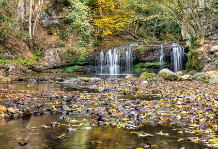 natures: Waterfall on the Margorabbia torrent of Ferrera of Varese on autumn, Italy