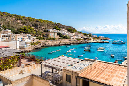 View of Levanzo island in the Mediterranean sea in Sicily, Trapani, Italy Stock Photo