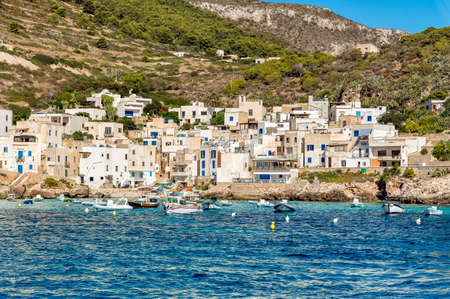 View of Levanzo island in the Mediterranean sea in Sicily, Trapani, Italy Editorial