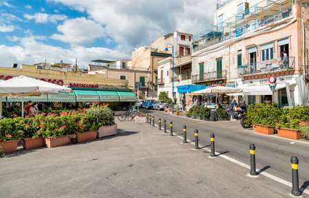 Streets in the center of Mondello, is a small seaside resort near Palermo city center. Editorial