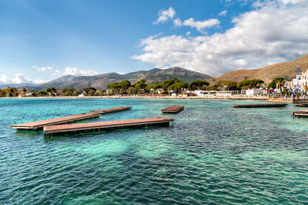 View of Mondello beach, is a small seaside resort near Palermo city center, Sicily, Italy Stock Photo