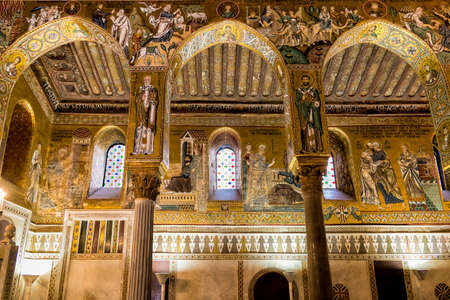 Saracen arches and Byzantine mosaics in Palatine Chapel of the Royal Palace in Palermo, Sicily, Italy Editorial