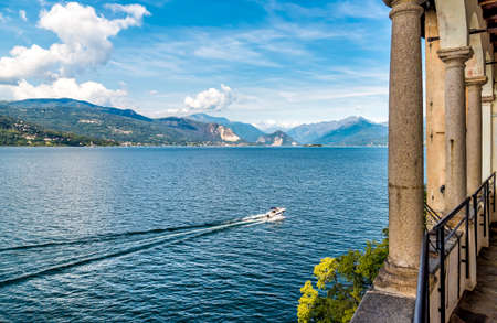 View of Lake Maggiore from Hermitage Santa Caterina del Sasso, Leggiuno, Italy Stock Photo - 90445440