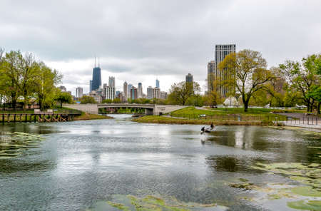 Chicago skyline with skyscrapers viewed from Lincoln Park Zoo over Lake, Illinois, USA