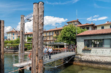 Pier of entrance on the Fishermen Island or Fishermens Island, one of the Borromean Islands of Lake Maggiore in Piedmont of North Italy. Editorial