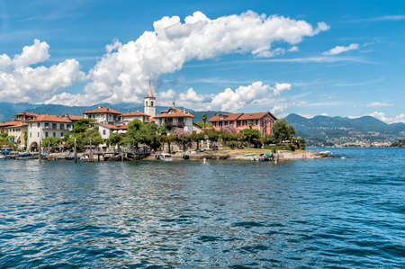 View of Fishermen Island or Fishermens Island, one of the Borromean Islands of Lake Maggiore in Piedmont of North Italy.