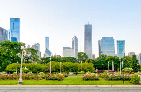 Chicago Grant Park with skyscrapers in the background, Illinois, USA
