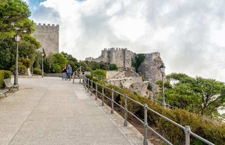 Medieval tourists visiting Venus Castle in the historic town Erice at the top of Mount Erice in Sicily.