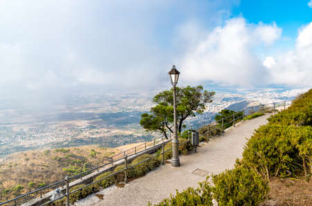 Promenade and viewpoint you city Trapani from Venus  of Erice, Sicily, Italy