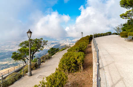 Promenade and viewpoint you city Trapani from Venus Castle of Erice Sicily Italy
